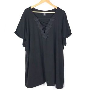 Torrid Top Blouse Black 4X Floral Embroidered